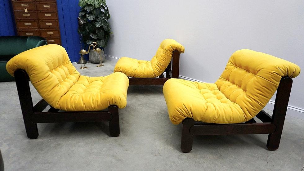 Minimalist Danish Chairs / Modular Sofa in Yellow Velvet, 1970