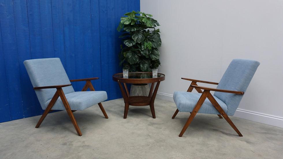 Model B 310 Var Mid Century Easy Chairs, in Light Blue, 1960, Set of 2