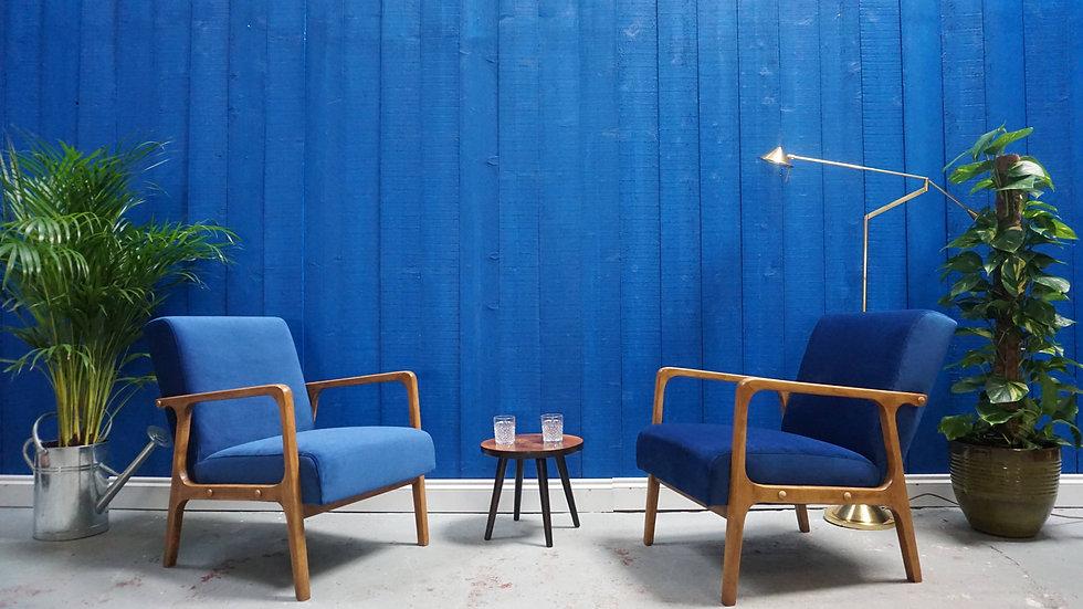 1960's Mid Century Modern Armchairs in Navy Blue Velvet, Set of 2