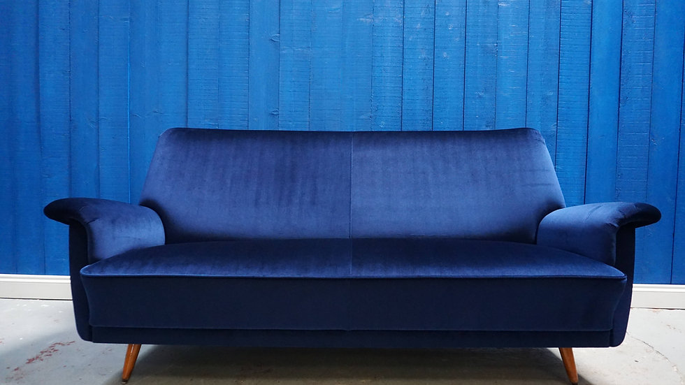 Mid Century Danish Sofa in Luxury Navy Blue Velvet, 1950's