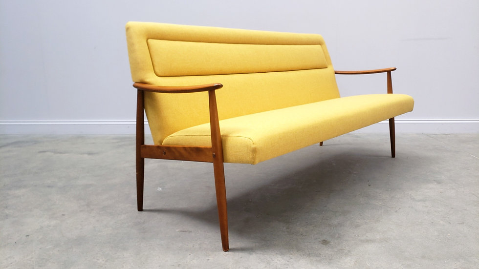 1960 Danish Sofa, Couch in Yellow Upholstery