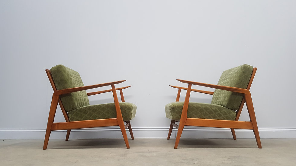 Pair of 1960's Danish Loungers Chairs in Vintage Green Velour