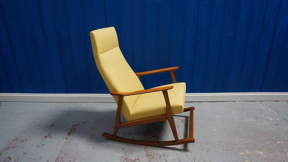 Mid Century Danish Rocking Chair in Mild Yellow, 1960's