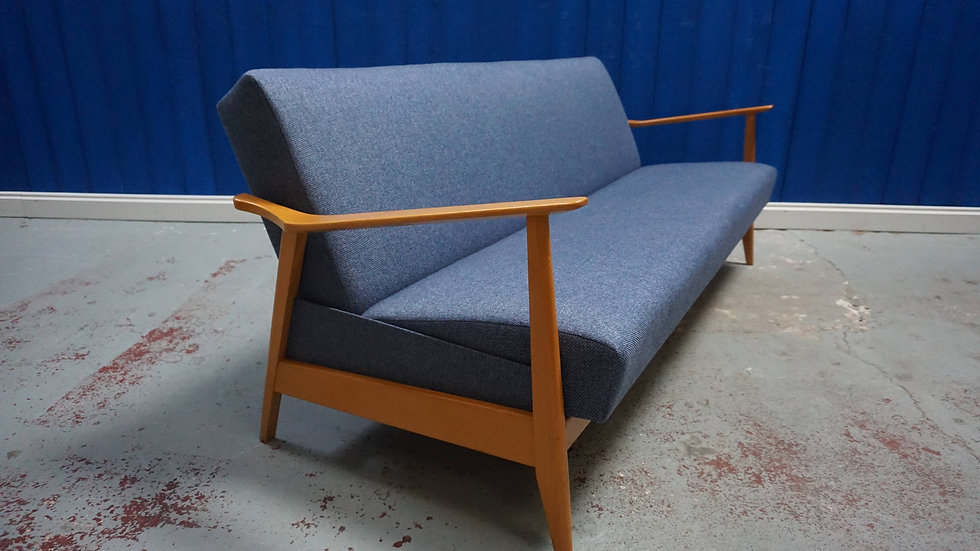 Mid Century Danish Sofa / Day Bed in Blue Tweed, 1960's