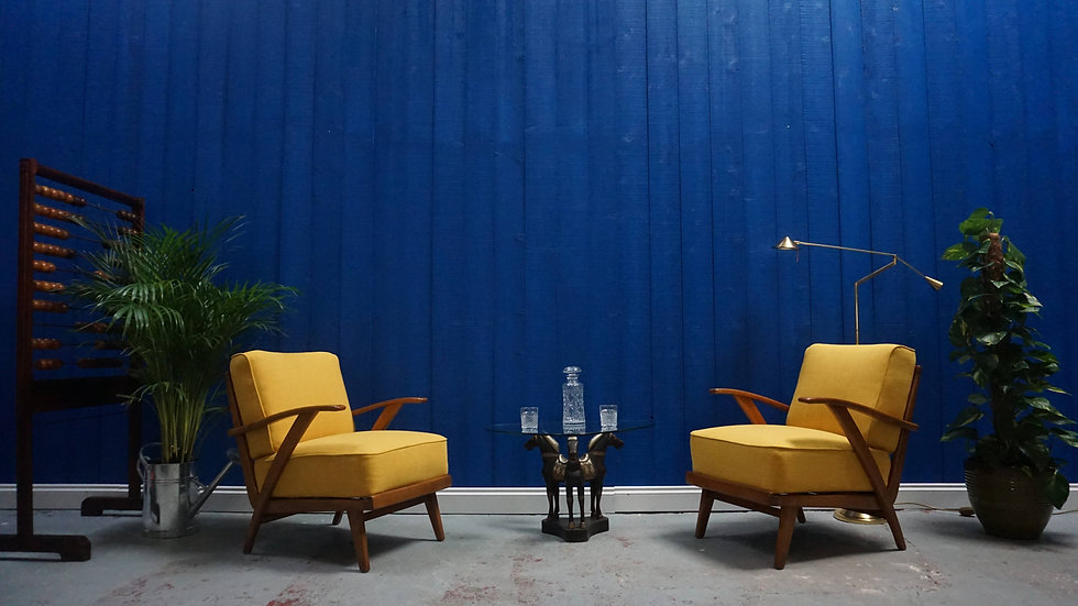 Mid Century Modern Lounge Armchairs in Yellow, from 1950's, Set of 2