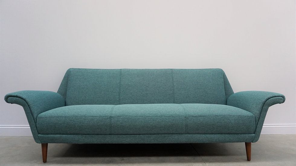 Mid Century Danish 3 Seat Sofa from the 60's, in Green Tweed