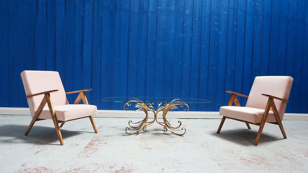 Mid Century Lounge Chairs in Champagne Pink Velvet, Interior Design Vintage