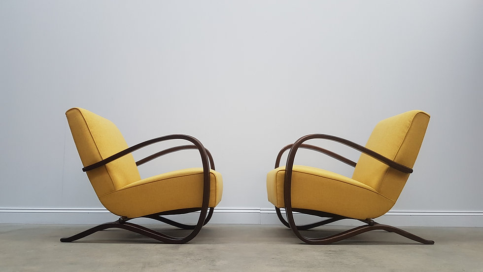 Pair of Jindrich Halabala H-269 Bentwood Armchairs in Yellow, Thonet 1930