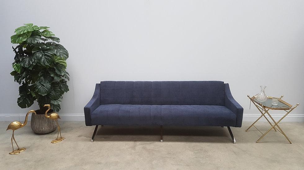 Mid Century 3 Seat Designer Sofa Bed from the 60's, in Navy Blue Velvet