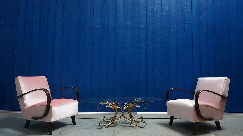 Jindrich Halabala Bentwood Armchairs in Pink Champagen Velvet, Thonet 1930 Classic Design