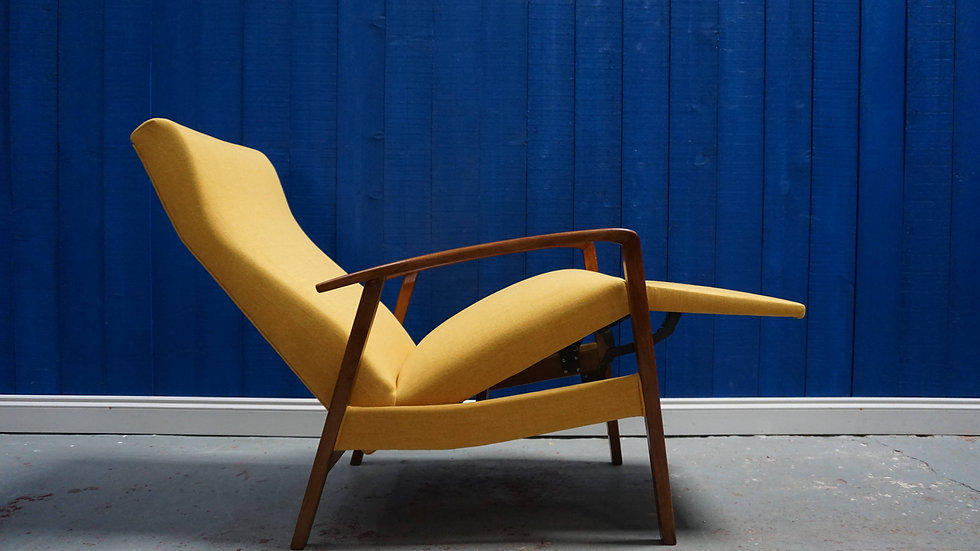 Mid Century Danish Recliner Armchair in Yellow, from 1960's