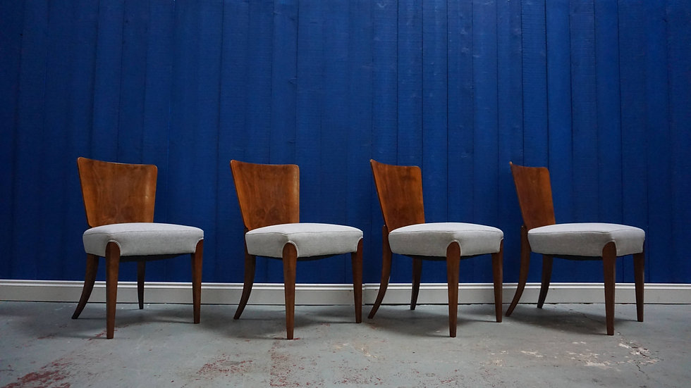 Art Deco Dining Chairs H-214 by Jindrich Halabala for Thonet, 1930's, Set of 4