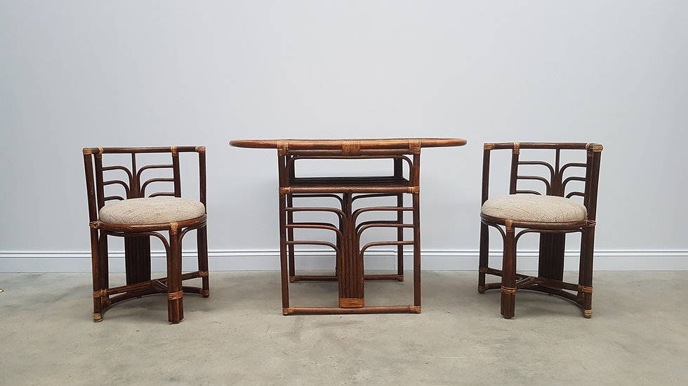 Vintage Rattan Set of Table and Chairs. 1960's