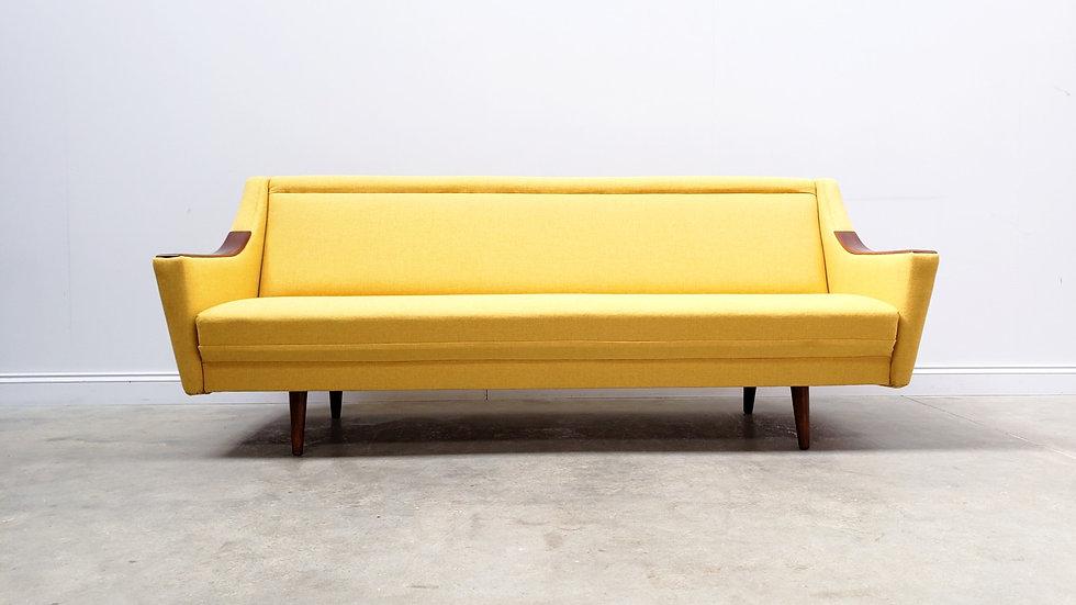 1960 Mid Century Danish Sofa Bed in Yellow Upholstery