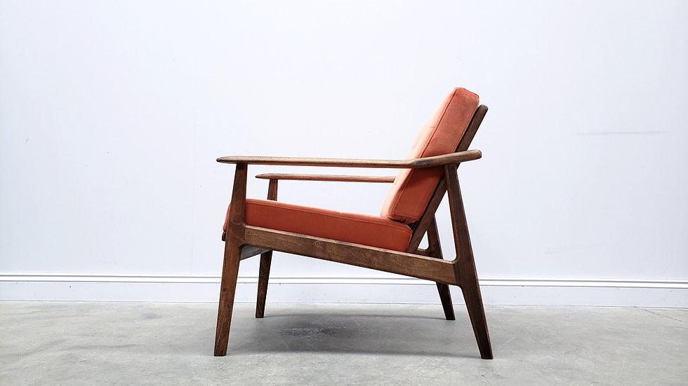 Scandi Chair in Coral Orange Velvet