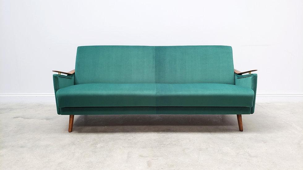 1960 Mid Century Danish Seat Sofa Bed in Green Velvet
