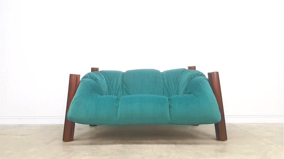 Percival Lafer Two Seat Sofa in Luxury Velvet, Brazil 1960