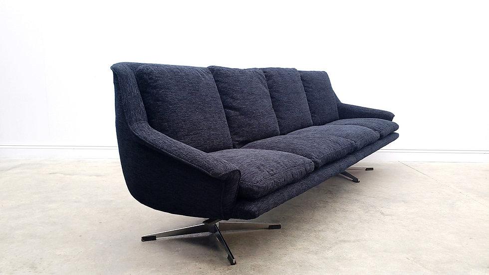 1960 Danish Sofa Model 802 by Werner Langenfeld for ESA in Black Velvet.
