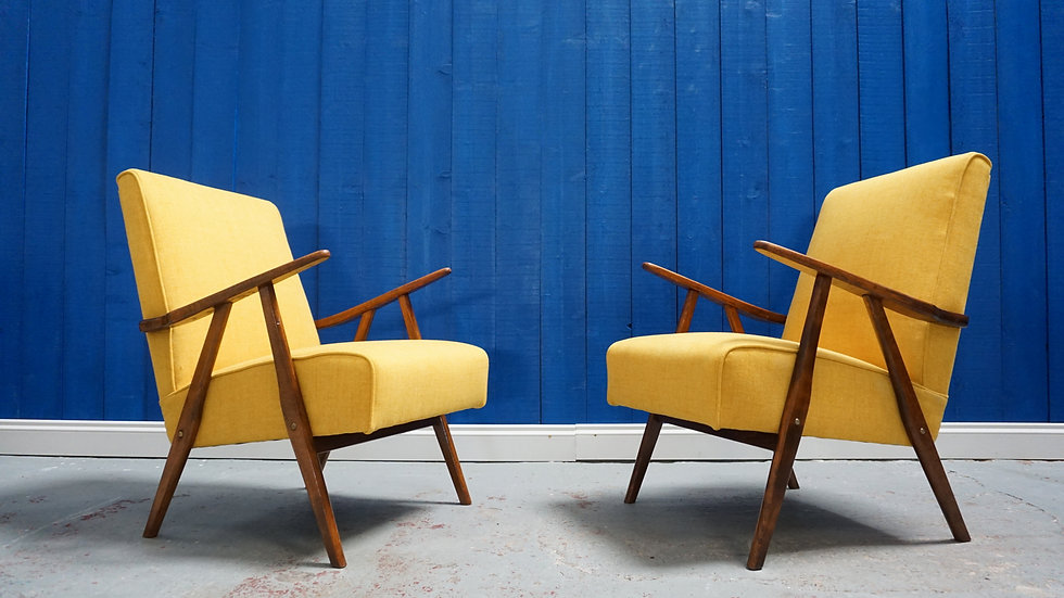 Mid Century Modern Lounge Chairs in Yellow, from 1960's, 1 of 2