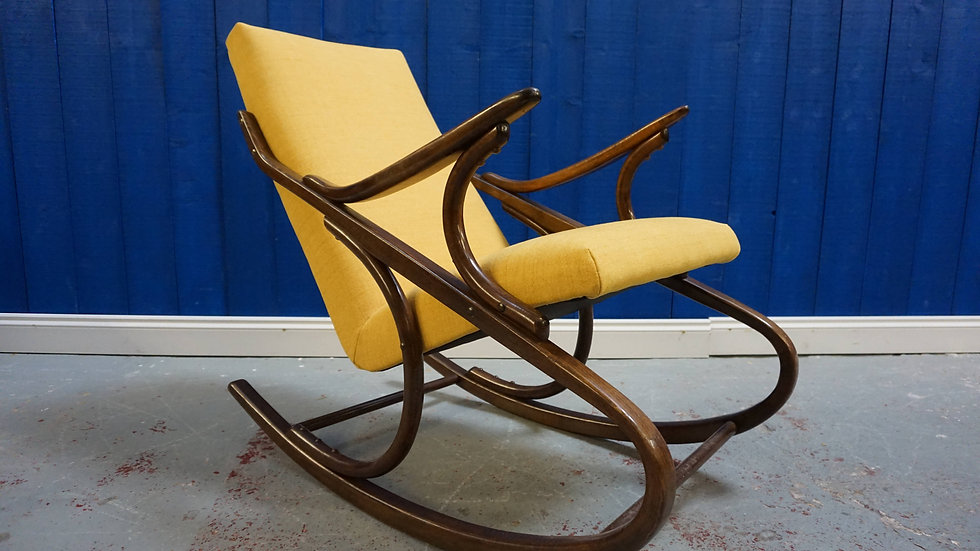 Ton / Thonet Rocking Armchair from 1960's in Yellow