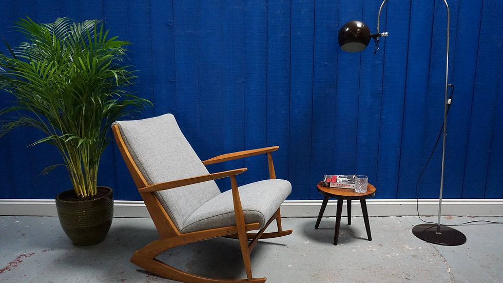 Danish 97 Rocking Teak Wood Chair by Søren Georg Jensen for Tønder Møbel