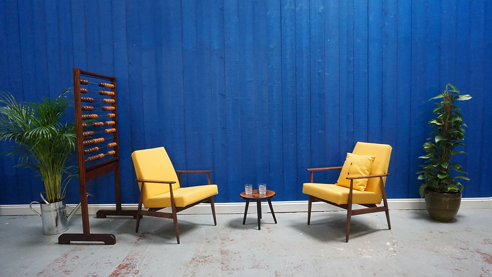 H. Lis Mid Century Armchair in Yellow from 1970's, Set of 2