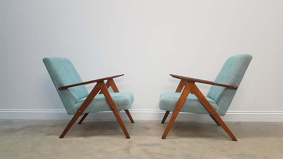 Pair of 1960 Mid Century Easy Chairs Model B 310 Var in Light Turquoise