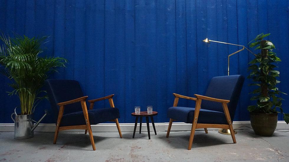 1960's Mid Century Modern Easy Chairs in Navy Blue Velvet