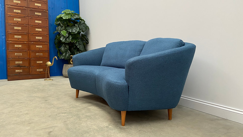 Mid Century 2 Seat Danish Banana Curved Sofa in Blue Tweed, 1960's