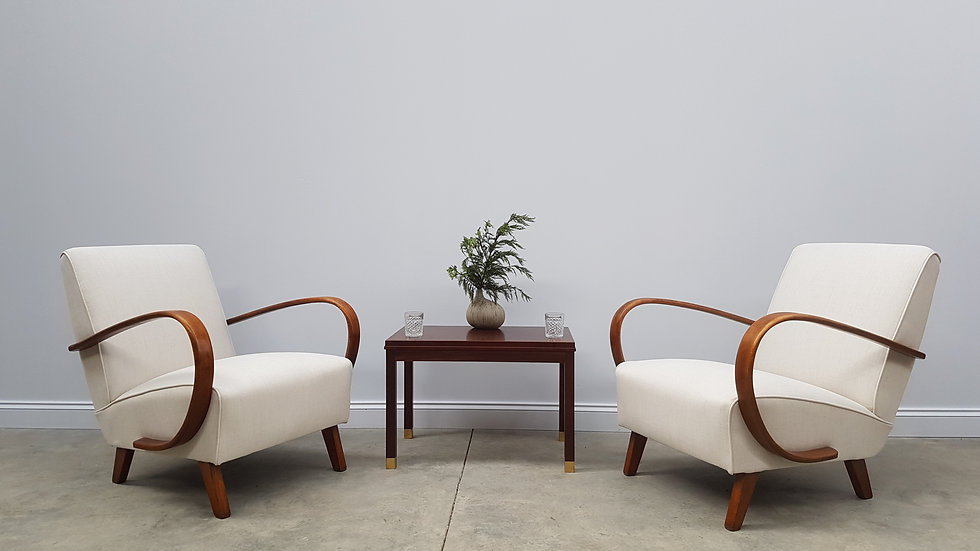 Jindrich Halabala Bentwood Armchairs in Cream, Thonet 1930, Set of 2