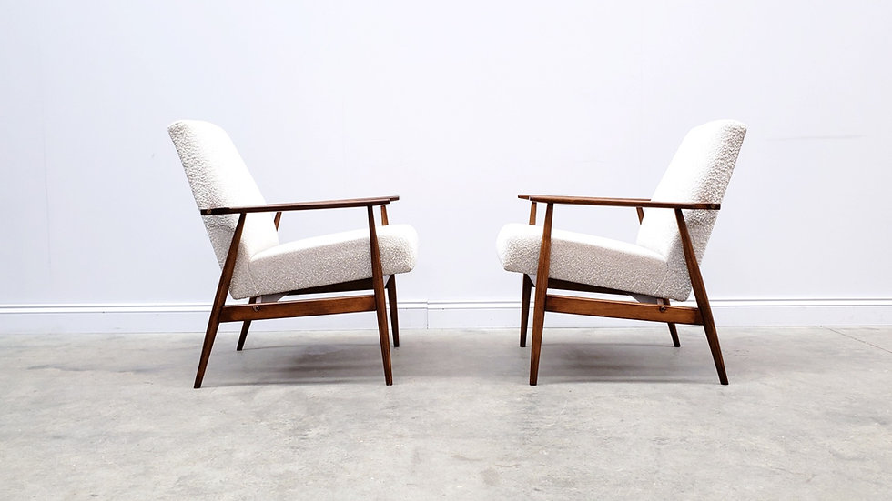 1960 Henryk Lis Mid Century Armchairs in Neutral Boucle Fabric