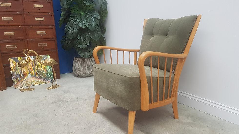 Art Deco Lounge Chair in Sage Green Velvet, 1940