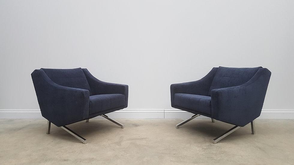 Pair of Mid Century Designer Chairs in Blue Velvet, 1960