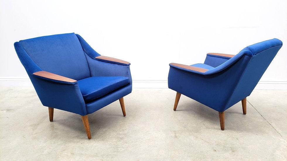 1960 Danish Teak Club Chair in Blue Velvet