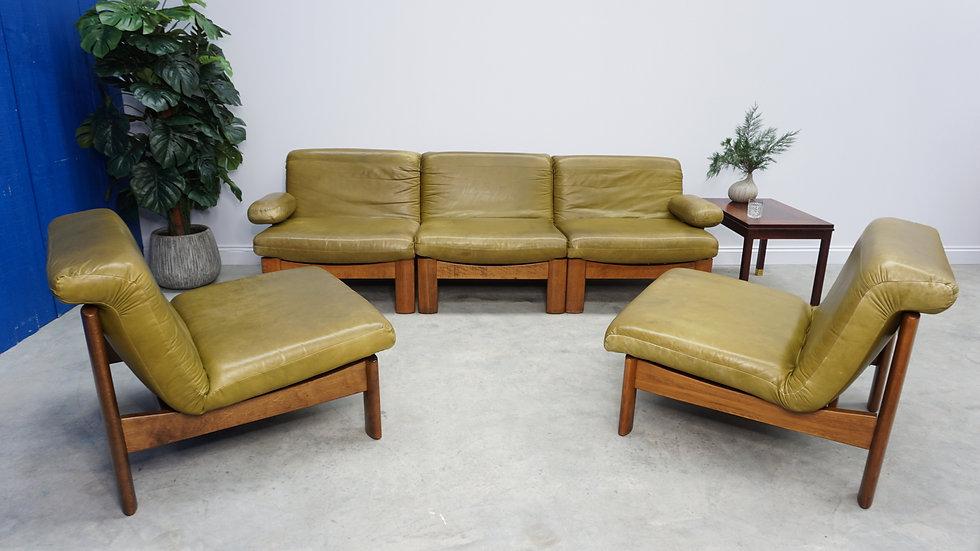 Dutch Oak Leather 5-Piece Modular Living Room Set, 1960's