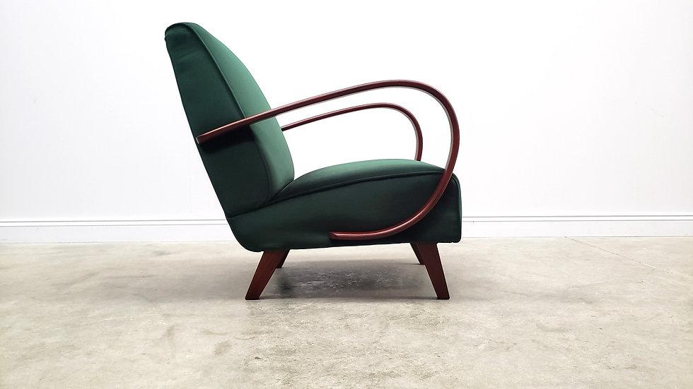 1930 Jindrich Halabala Bentwood Armchair in Luxury Green Velvet, Art deco