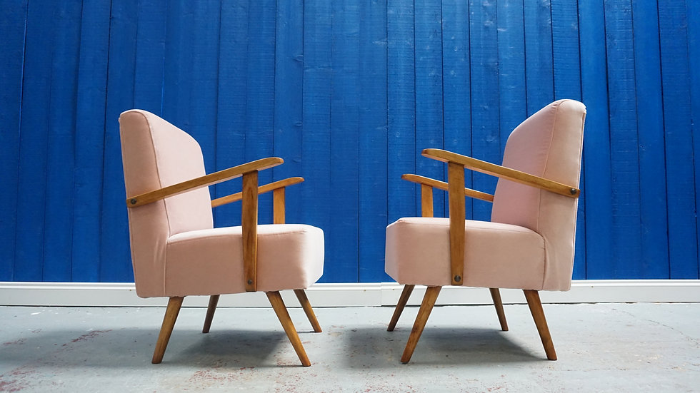 Small Mid Century Lounge Chairs in Velvet 1960 Champagne Pink Compact Armchair