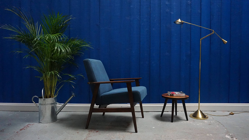 Mid Century Modern Lounge Chair in Navy Blue, from 1960's Vintage Design Lounger
