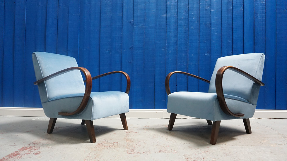 Jindrich Halabala Armchairs in Luxury Light Blue Velvet, Thonet 1930, Set of 2