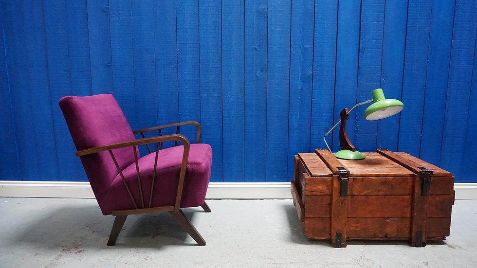 Mid Century Retro Armchair in Purple Velvet, from 1960's Vintage Mid Century Modern