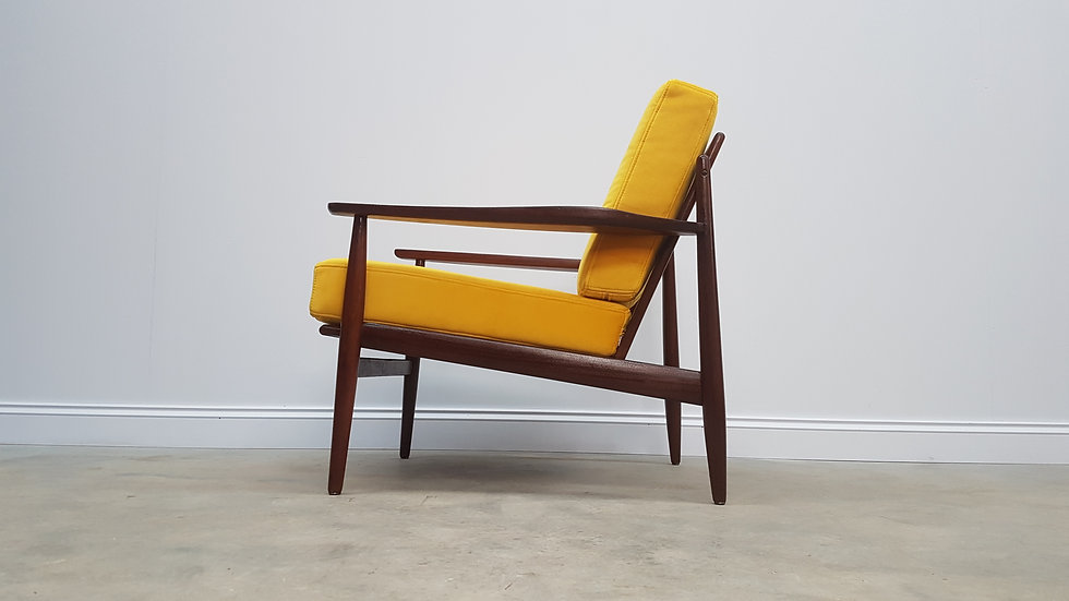 1960's Danish Lounger Club Chair in Golden Yellow Luxury Velvet