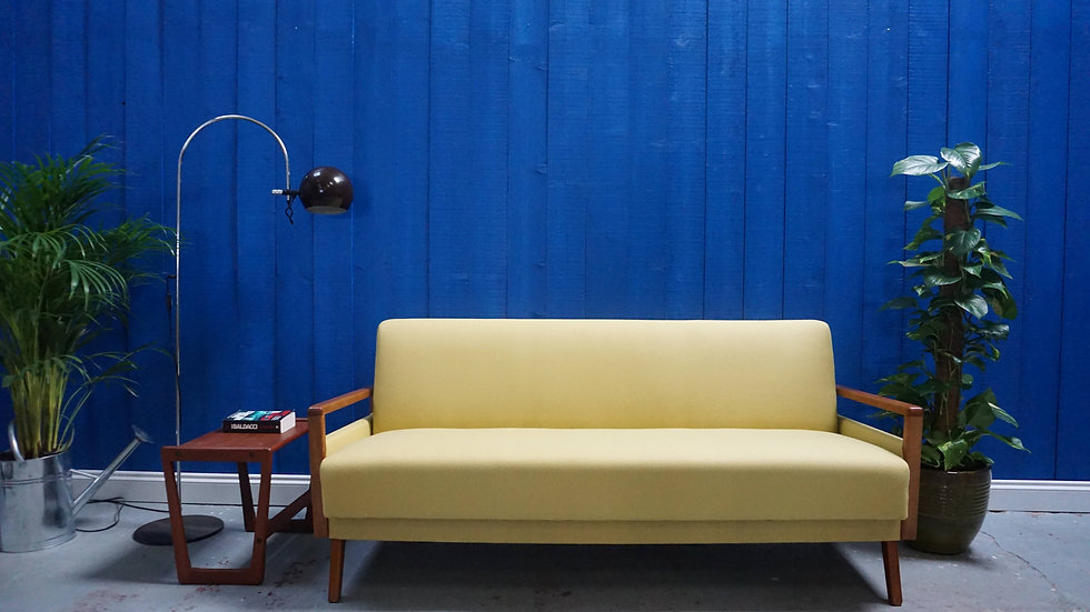 1960's Mid Century Modern Sofa / Bed in in Yellow