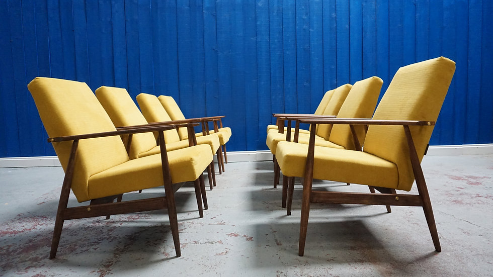 H. Lis Mid Century Armchair in Yellow from 1970 hotel furniture classic design modern