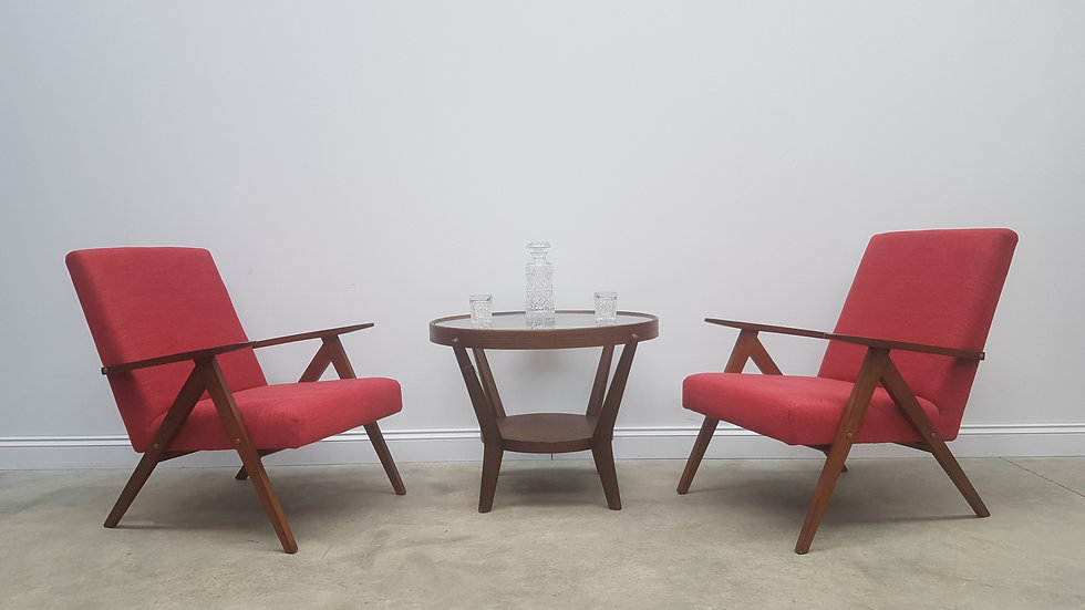 Mid Century Easy Chairs Model B - 310 Var in Red, 1 of 2