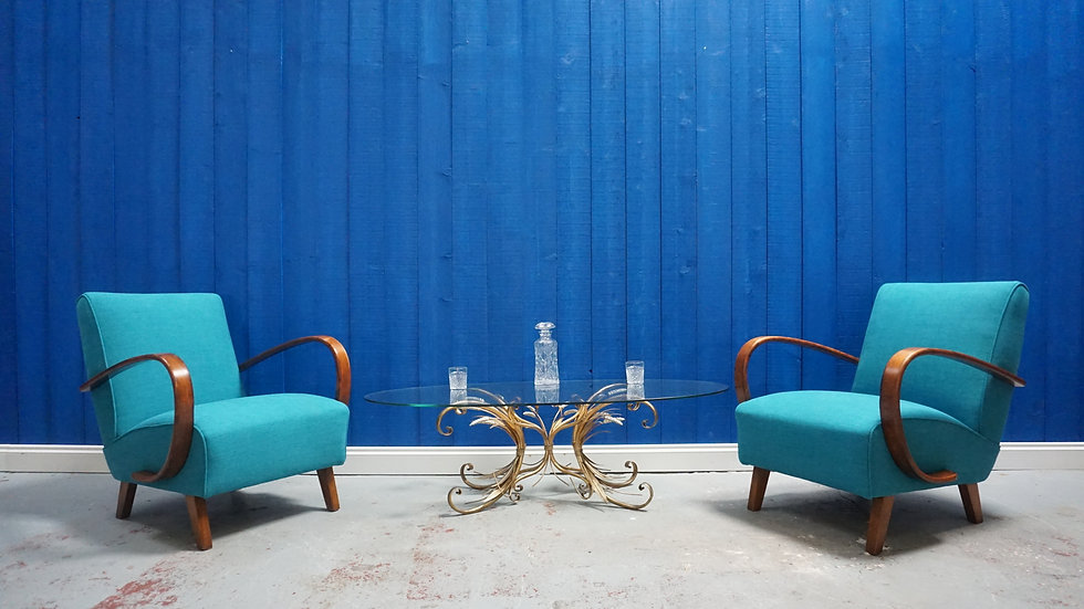 Jindrich Halabala Bentwood Armchairs in Turquoise, Thonet 1930, Set of 2