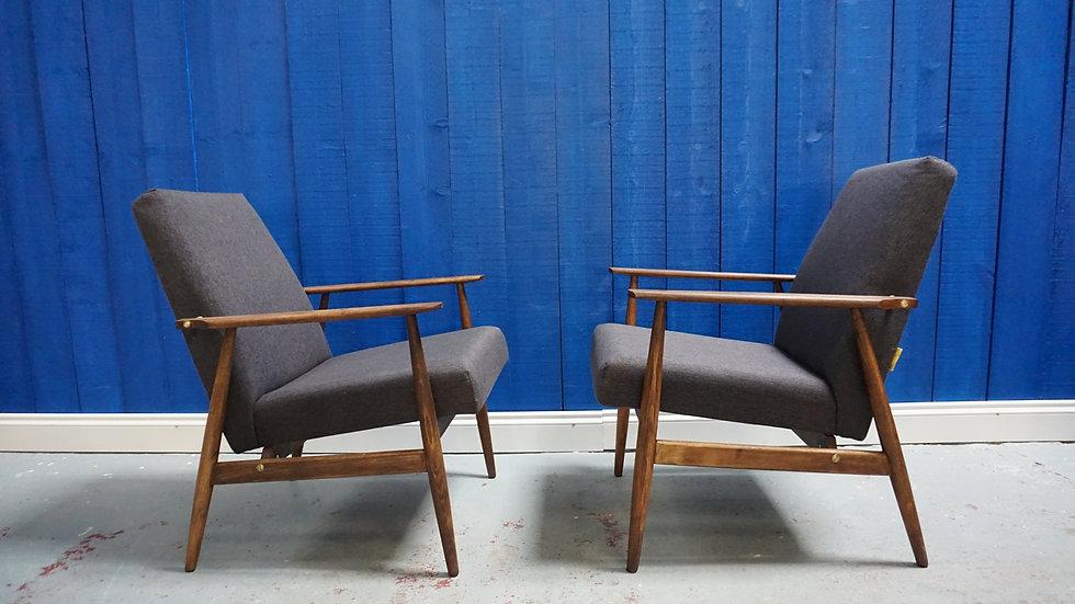 H. Lis Mid Century Modern Armchairs in Dark Grey from 1970 Vintage Interior Design