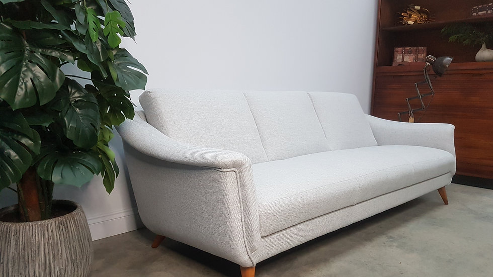 Mid Century Danish 3 Seat Sofa from the 60's, in Grey Tweed