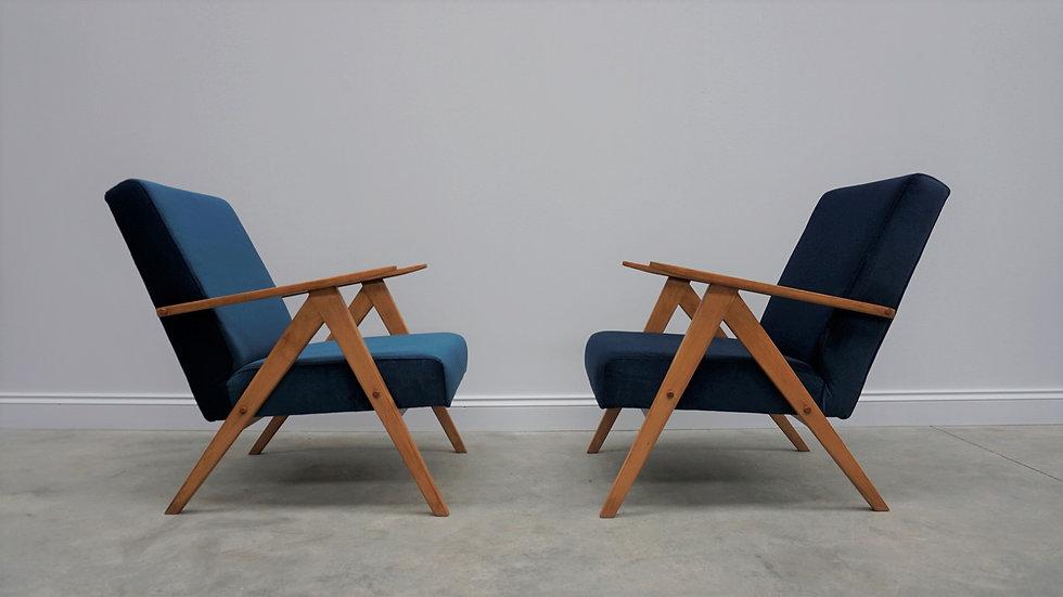 Model B 310 Var Mid Century Easy Chairs in Blue Velvet, 1960, vintage