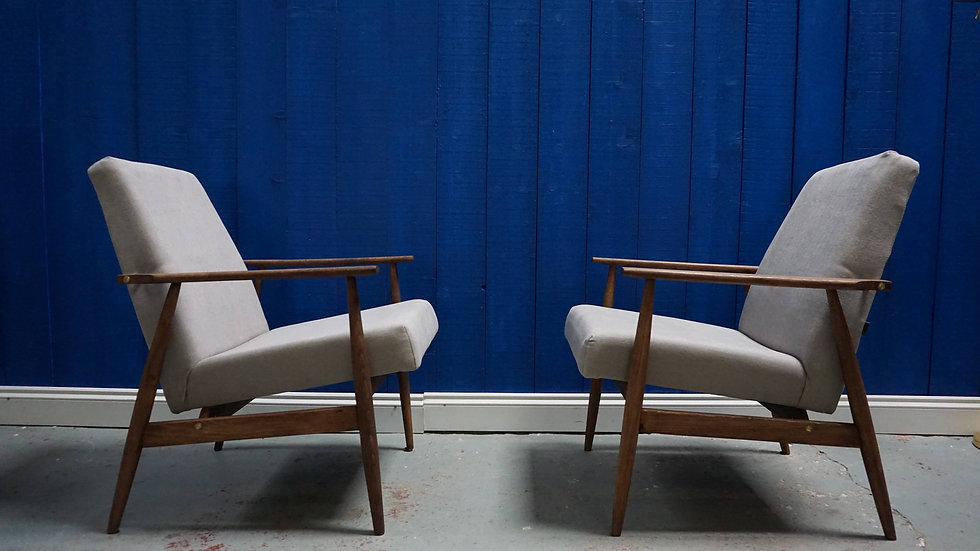 H. Lis Mid Century Armchairs from 1970's, Grey, 1 of 2