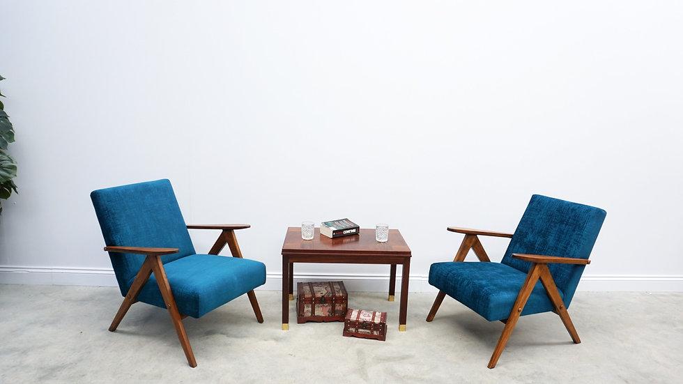 1960 Mid Century Easy Chair Model B 310 Var in Teal Velvet